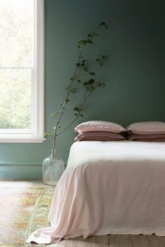 Green Wall   Pink Bed   Bedroom Decor   Home Plants