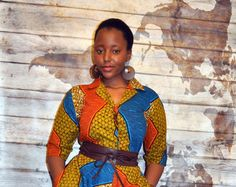 African print shirt dress in brown hues. African Print Shirt, Fancy Tops, Dress Up, Shirt Dress, Weather Wear, Printed Shirts, Etsy, Cotton, How To Wear