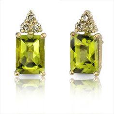 14 Karat Yellow Gold 3.00 carats Radiant Checkerboard Cut Peridot Diamond Earrings Peora. $119.99