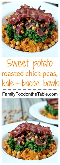 Mashed sweet potatoes topped with roasted chick peas, sautéed kale and crispy bacon! | Family Food on the Table