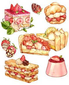 n on in kitchen art food painting, dessert illustration - food drawings Food Design, Desserts Drawing, Cute Food Art, Dessert Illustration, Cute Food Drawings, Food Sketch, Watercolor Food, Food Painting, Aesthetic Food