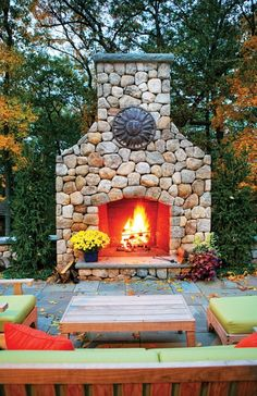 """Fireplace + bluestone patio + furniture  #OutdoorBliss #Mohawk and """"I love this indoor/outdoor rug!"""""""