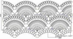 Fan motif pattern 1 in Russian. Looks good for a shirt or skirt or dress Crochet Borders, Crochet Diagram, Crochet Stitches Patterns, Crochet Chart, Filet Crochet, Crochet Motif, Crochet Lace, Stitch Patterns, Crochet Skirts