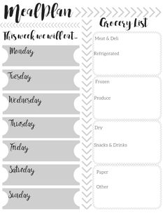 Meal Plan and shopping list printable. Free printable for meal planning and grocery list for easier shopping.