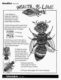 Invallers: Insecten/kriebelbeestjes Free: Ande Cook's Insects in Line handout with complete substitute lesson. Art Sub Lessons, Drawing Lessons, Drawing Projects, Art Sub Plans, Art Lesson Plans, Art Substitute Plans, Middle School Art, Art School, High School