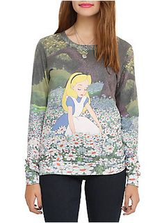 Pullover top from Disney's <i>Alice In Wonderland</i> with a sublimation print of Alice in a field of daisies.
