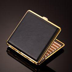 Slim Leather Cigarette Case - 2 Metal Colors