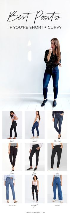 Guide to the Best Pants if You're Short and Curvy: the perfect fits from Madewell, J.Crew, Athleta, LuluL Lemon, Paige, Guess, GAP, and American Eagle | by Thyme is Honey