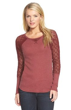 Lucky+Brand+Lace+Sleeve+Thermal+Tee+available+at+#Nordstrom