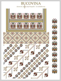 Semne Cusute: IA AIDOMA 005 = Bucovina, ROMANIA Folk Embroidery, Embroidery Patterns, Cross Stitch Patterns, Knitting Patterns, Simple Cross Stitch, Embroidery Techniques, Beading Patterns, Diy Clothes, Couture