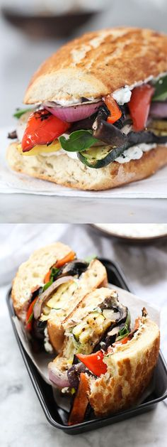 Grilled Vegetable Sandwich with Herbed Ricotta by foodiecrush #Sandwich #Grilled_Vegetable