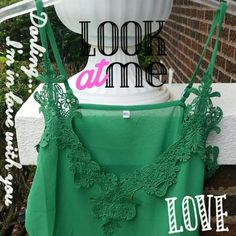 Sheer Green Lace Tank top Beautiful sexy and romantic tank tops This is a shamrock green neckline & sheer  bottom!  ImportantSizes run two sizes smaller from China !  This listing is for an tag size XXXL but fits like a XL /XXL !   RUNS SMALL        In photo I'm wearing an XXXL and I'm usually an XXL it looks good on top but it snug in stomach and shorter then I like in back! Great quality very pretty sexy and beautiful !  Length 23 inches Bust 43 inches acrod More Sizes Avail. Boutique…