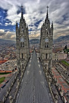 Climbing the towers of this cathedral in Quito, Ecuador is amazing! South America