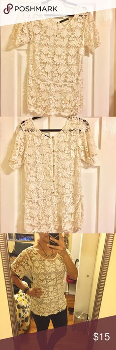 Lace Top Cute and comfortable lace top. Perfect for date night. Five gold buttons on back (pictured). See through so you will need to wear something under. 100% cotton. Color is off-white/cream. Dui Cie  Tops Blouses