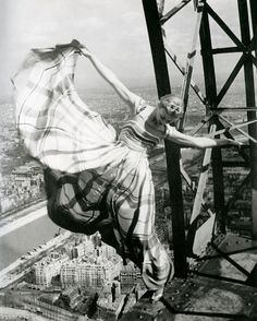 Lisa Fonssagrives on the Eiffel Tower, for Vogue 1939