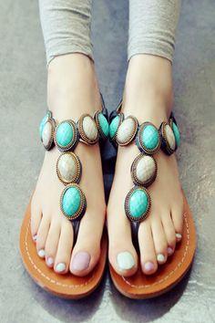 Bejeweled Thong Sandals - Highonshoes.com