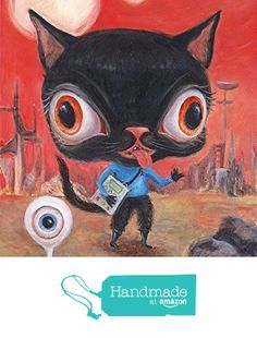 """Star Trek Cat Whimsical Contemporary Art Print -Illustration - """"Mr. Fluffy Spock"""" Mat and size options available from Wibbley World - Artwork of Vicky Knowles https://www.amazon.com/dp/B01ARCP622/ref=hnd_sw_r_pi_dp_GUX3ybW75Q5TW #handmadeatamazon"""
