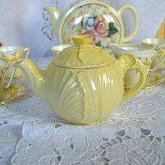 Rare 1930s Carlton Ware Buttercup Teapot - Plain Pale Yellow - Tea for One - Small - English China - Art Deco Embossed Flower Shape 1522/3 on Etsy,