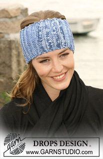 """DROPS head band in garter sts and in 2 threads """"Muskat Soft"""" ~ DROPS Design Loom Knitting, Knitting Patterns Free, Free Knitting, Free Crochet, Knit Crochet, Crochet Patterns, Free Pattern, Knit Headband Pattern, Knitted Headband"""