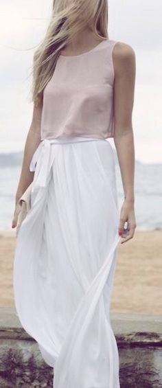 Love a silk top with white maxi skirt