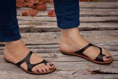 CIJ Sale 20% OFF Black Leather Sandals Black Sandals by BangiShop