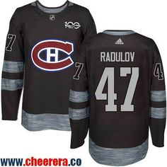 Men's Montreal Canadiens #47 Alexander Radulov Black 100th Anniversary Stitched NHL 2017 adidas Hockey Jersey