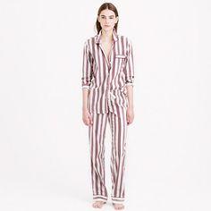 "No more stealing his pajamas. Our take on the borrowed-from-the-boys classic is designed with an easy fit (read: it's the comfiest—and chicest—way to get your eight hours). <ul><li>Top hits at hip.</li><li>Wide leg.</li><li>32 1/2"" inseam.</li><li>Cotton.</li><li>Long sleeves.</li><li>Elastic waistband with drawstring on pant.</li><li>Machine wash.</li><li>Import.</li><li>Online only.</li></ul>"