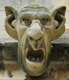 A horrific gargoyle ,screaming. I wonder who has the morbid imagination to come up with that creature.
