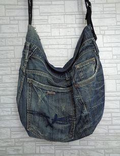 Cross body slouchy bag unisex grunge purse recycled by BukiBuki
