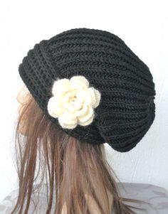Hand Knit Hat Womens hat  chunky knit Slouchy  Black by Ebruk, $35.00