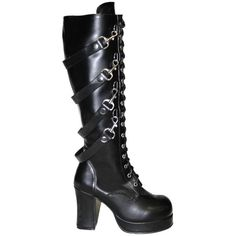 ebd6fca754f Demonia Gothika-209 Knee Boot Black ( 85) ❤ liked on Polyvore featuring  shoes
