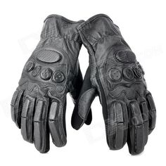 Tactical Full Finger Gloves with Protective Rubber Pads - Black (Pair / Size XL) Price: $13.20
