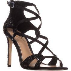 Jewel Badgley Mischka Aliza II Dress Heeled Sandals, Black    #badgleymischka #eveningsandals #dresssandals #sandals #heels #jewels #rhinestone #shoes #shopping #fashion #retail #style #trend #love #womensfashion