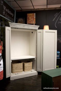 TV armoire turned Wardrobe - back tv hole covered with beadboard - Good idea. I see tons of these at the Habitat Restore. Cool Bedroom Furniture, Wardrobe Furniture, Furniture Update, Tv In Bedroom, Home Furniture, Bedroom Decor, Bedrooms, Furniture Ideas, Furniture Refinishing