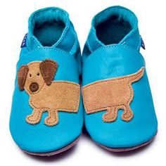 Inch Blue Dachshund - Blue  Soft Suede Baby Shoe booties Handmade in Wales UK dash brown tan ♡