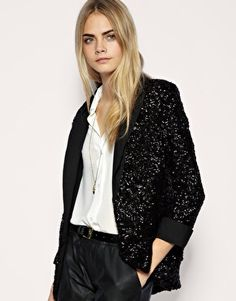 Image from http://styleprompt.files.wordpress.com/2011/03/sequin-cut-blazer.jpg. Something that's trending now is women wearing men's apparel now. The fit and look attract women for the edgy and comfy feel and look. Using men's clothing and tweaking it for a feminine touch is what women are doing a lot! Alissa Brooks-Johnson