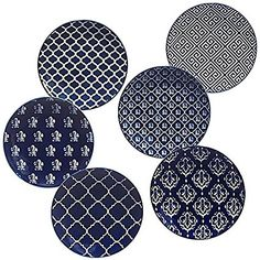 Blue Indigo by Bronson Pinchot Canape Plates (Set of 6) By Certified International