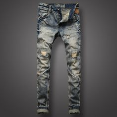 37.09$  Buy here - http://alindc.shopchina.info/1/go.php?t=32804208955 - Nostalgia Retro Design Men Jeans High Quality Slim Fit Frayed Hole Ripped Jeans For Men Vintage Wash Skinny Biker Jeans Pants  #magazineonlinewebsite