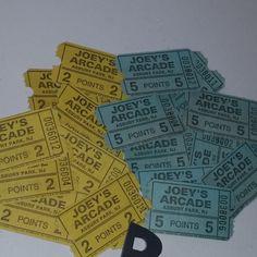 12 vintage arcade amusement park tickets 6 each of 2 kinds blue yellow Joeys Arcade NJ Vintage paper mixed media art supplies lot ephemera