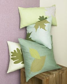 This project can be completed using a store-bought pillow cover, but a flat piece of fabric works best, as it fits easily into a sewing machine. After you embellish the fabric with leaf patterns, you can use it to make a pillow cover.