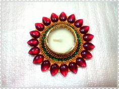 Red Kundan Diya Candle for #diwali #festival of lights
