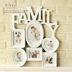 Rustic fashion brief personalized family one piece combination photo frame vintage plastic photo frame wall mounted $14.90