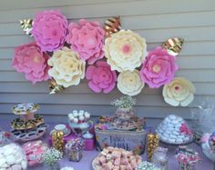 Extra large Paper Flower Backdrop white Custom by PAPERandPEONY