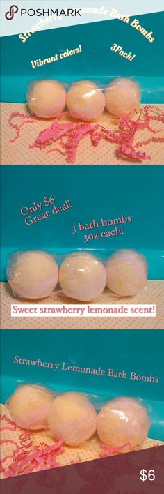 Strawberry Lemonade Bath Bombs 3 Pack Strawberry lemonade bath bombs 3pack. Round ball shaped 3oz each. Handmade. Perfect size for an adult bath. For a kids bath just break in half. Size comparBle to a golf ball but a bit bigger. Vibrantly colored pink and yellow. Sweet scent of lemonade mixed with aroma of fresh picked strawberries! #bathbombs#bathbomb#bathtime#makeup#skincare#pink#lush Makeup