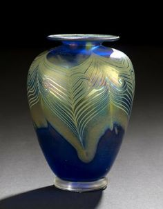 """1019: Charles Miner Studio Glass """"Peacock Feather"""" Vase : Lot 1019"""