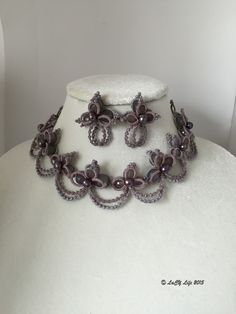 tatting jewelry, lacy life, grey and plum purple tatting necklace, 3 pieces set, mike takilar, original design, wild violet necklace