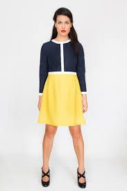 Image result for navy and yellow dress