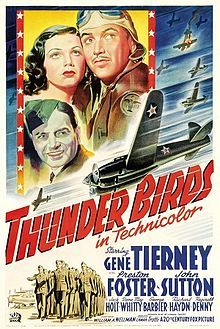 Thunder Birds Us Poster Art Clockwise From Left: Gene Tierney Preston Foster John Sutton 1942 Tm And Copyright Century Fox Film Corp. Gene Tierney, Dolby Digital, Old Movies, Vintage Movies, Vintage Posters, Force Movie, Bird Poster, Fear Of Flying, Movie Poster Art