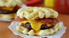 Trade traditional hamburger buns for golden waffle buns using Pillsbury™ Grands!™ Flaky Layers biscuits.