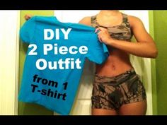 DIY  T-shirt Reconstruction: Two Piece Matching Outfit - YouTube